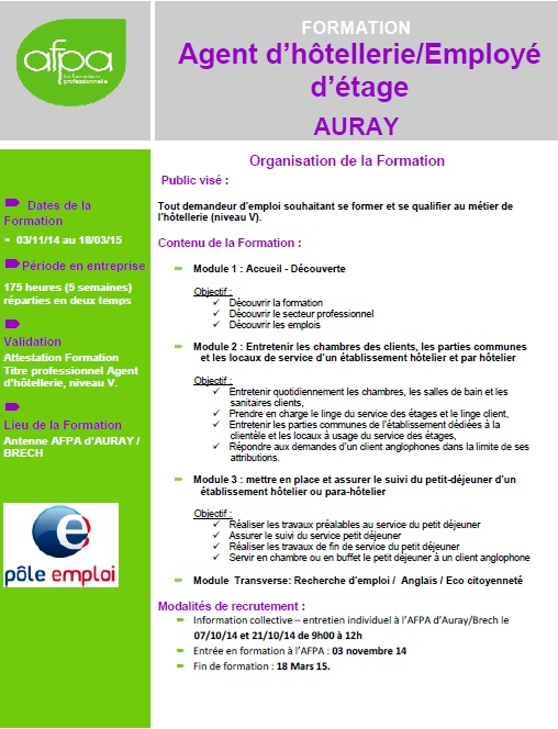Formation hotellerie pole emploi for Emploi dans restauration